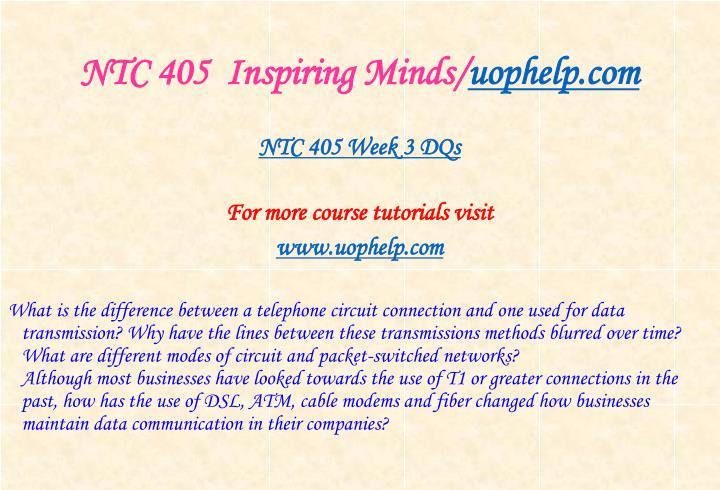 NTC 405  Inspiring Minds/