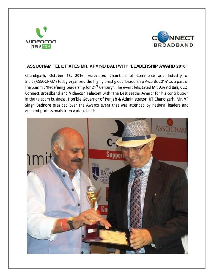 ASSOCHAM FELICITATES MR. ARVIND BALI WITH 'LEADERSHIP AWARD 2016'