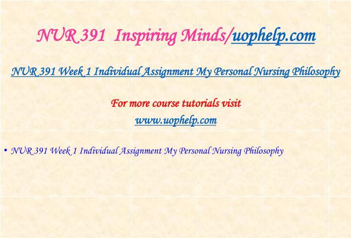 NUR 391  Inspiring Minds/