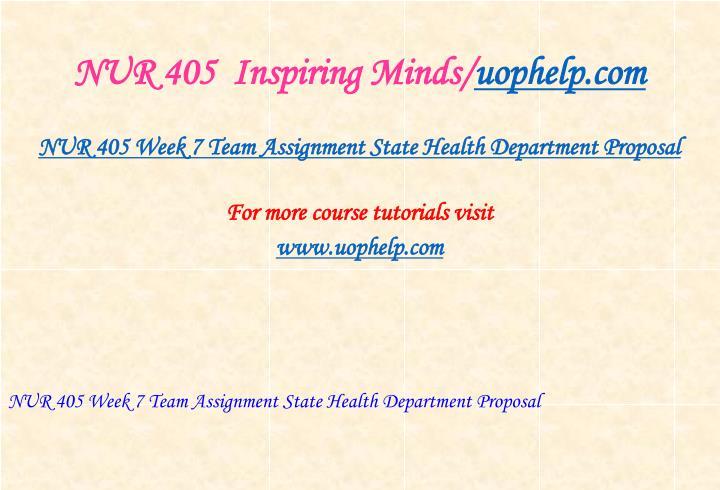 NUR 405  Inspiring Minds/