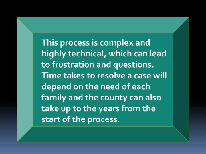 This process is complex and highly technical, which can lead to frustration and questions. Time take...