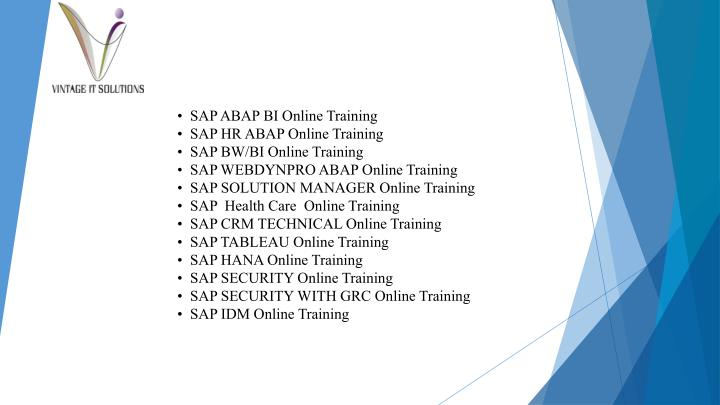 •  SAP ABAP BI Online Training