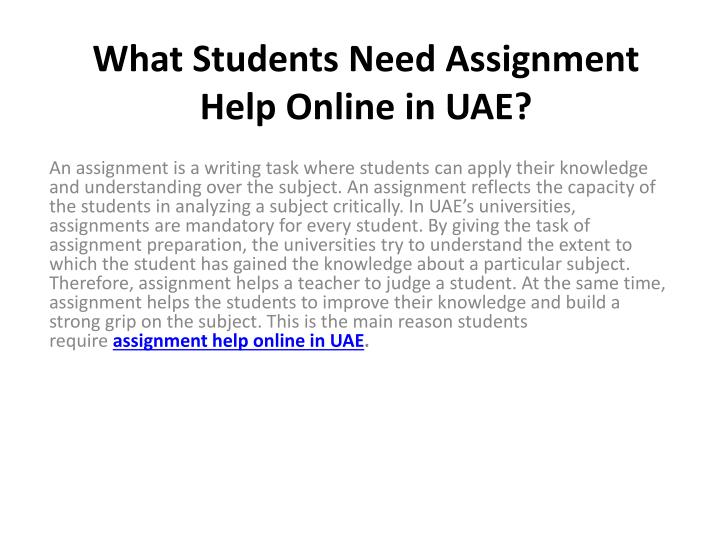 What students need assignment help online in uae