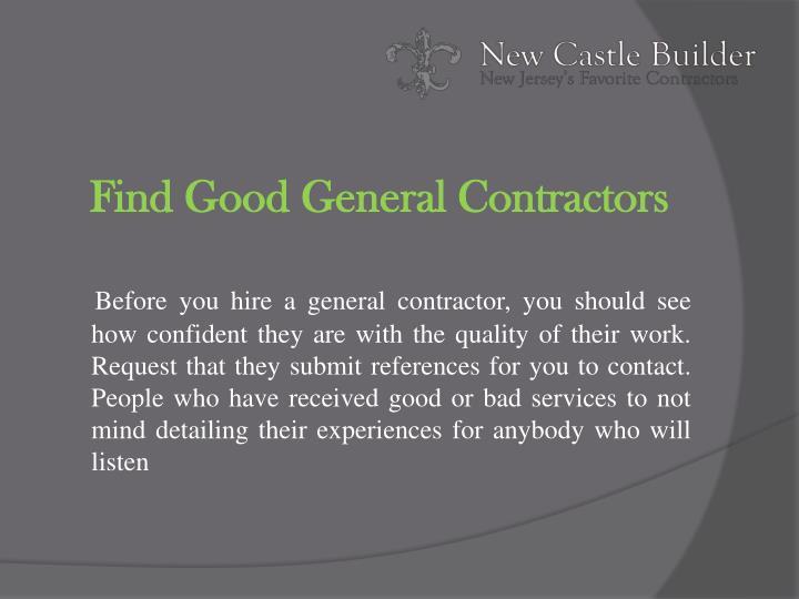 Find Good General Contractors