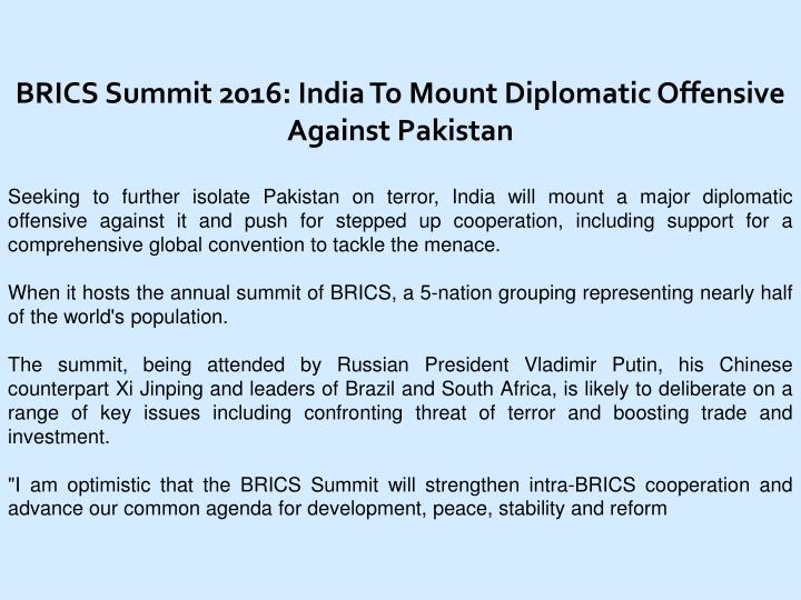BRICS Summit 2016: India To Mount Diplomatic Offensive Against Pakistan