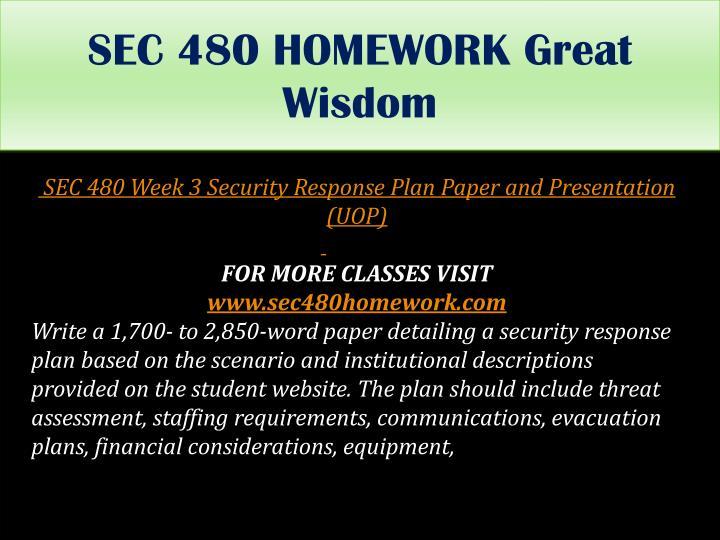 SEC 480 HOMEWORK Great Wisdom