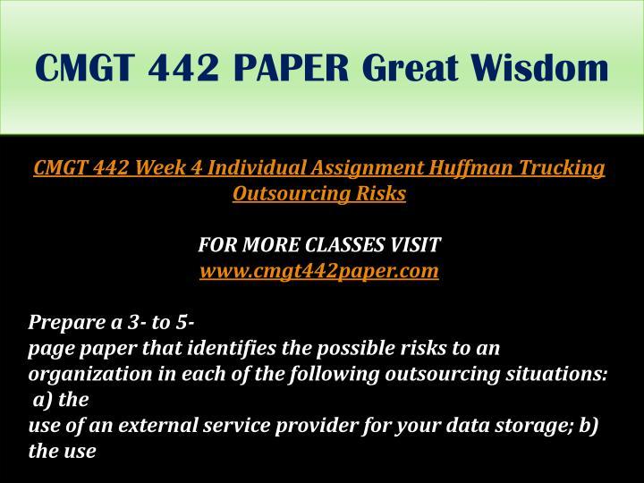 CMGT 442 PAPER Great Wisdom
