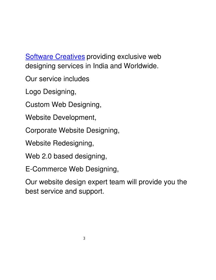 Software Creatives providing exclusive web