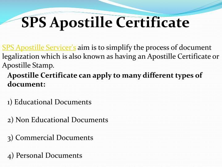 SPS Apostille Certificate