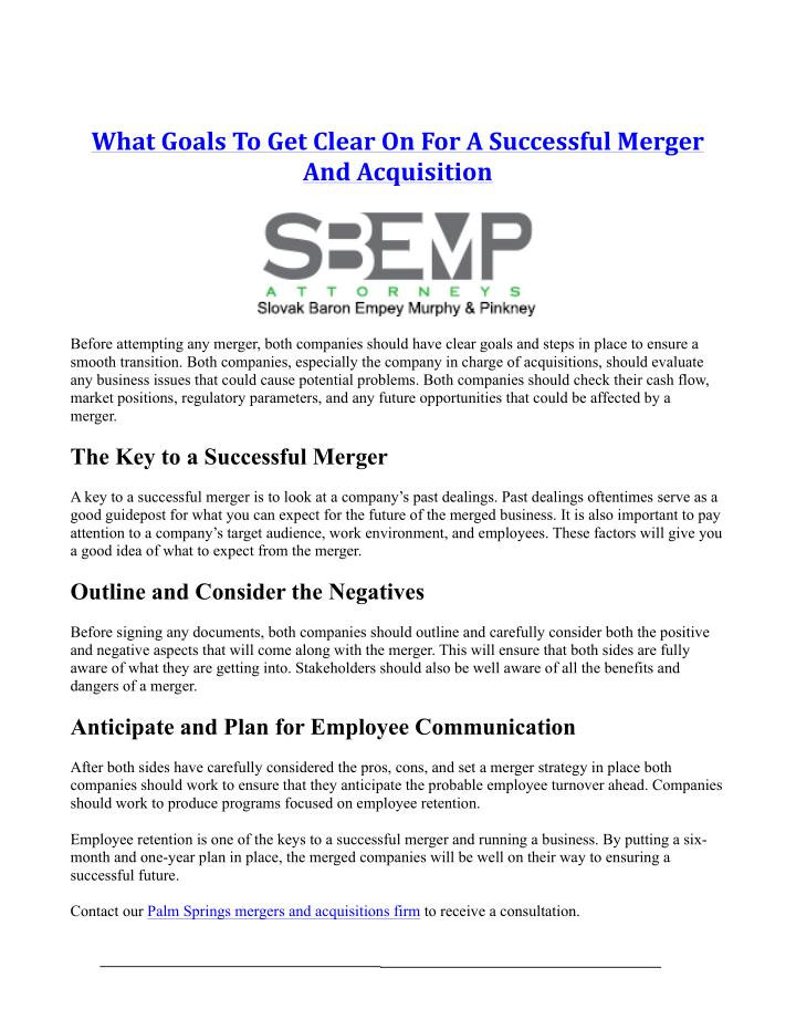 What	Goals	To	Get	Clear	On	For	A	Successful	Merger