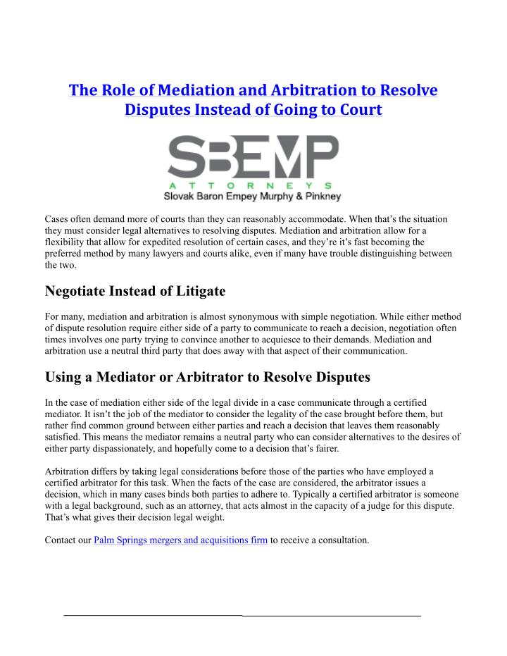 TheRoleofMediationandArbitrationtoResolve