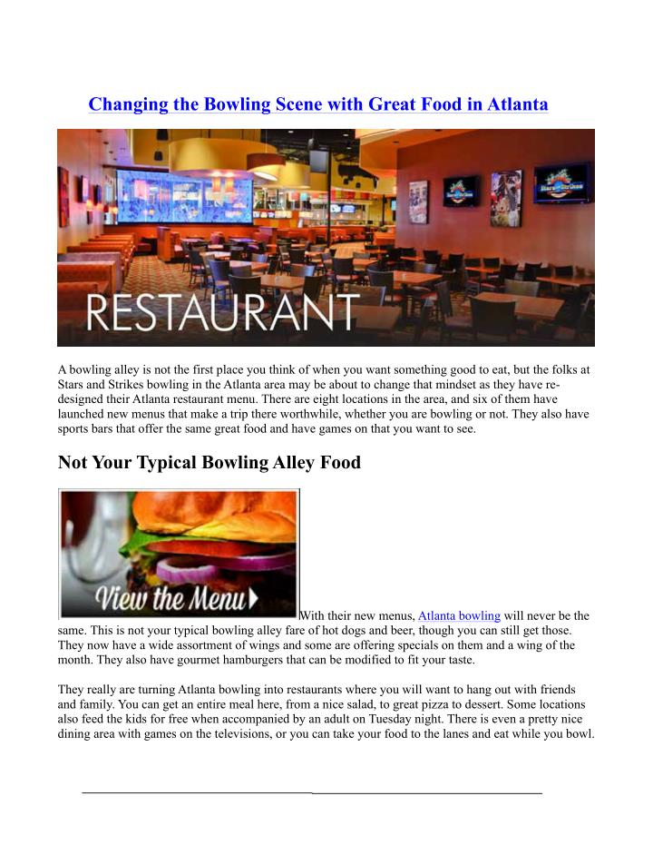 Changing the Bowling Scene with Great Food in Atlanta