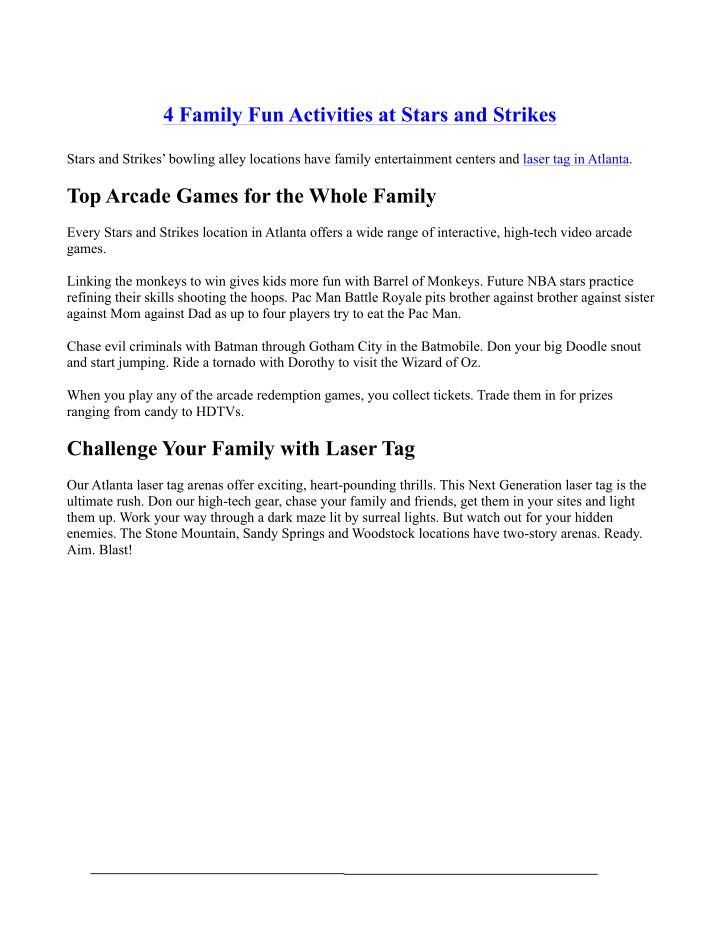 4 Family Fun Activities at Stars and Strikes