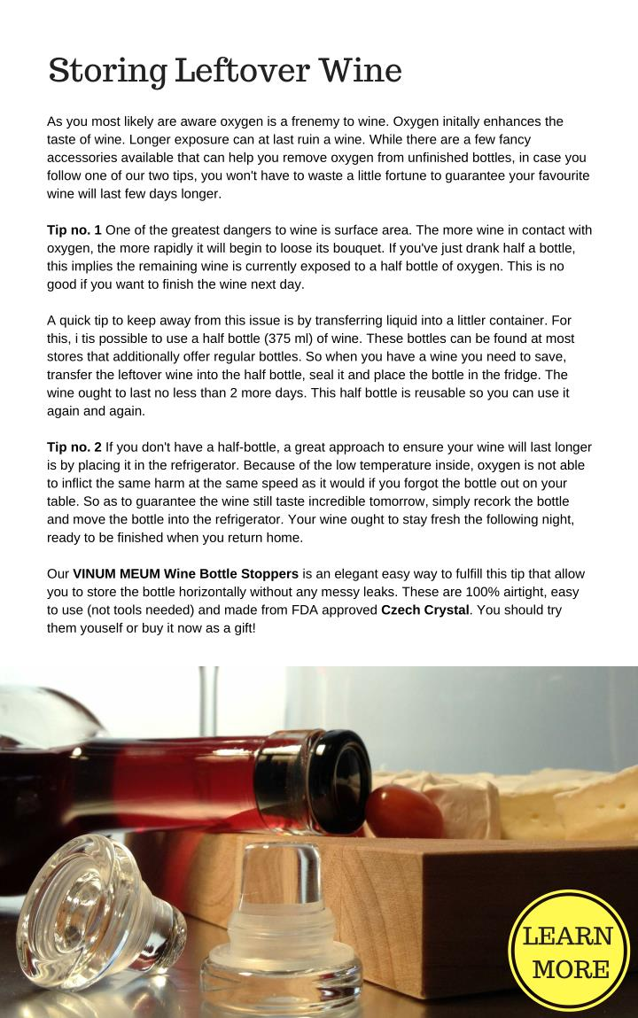 Storing Leftover Wine