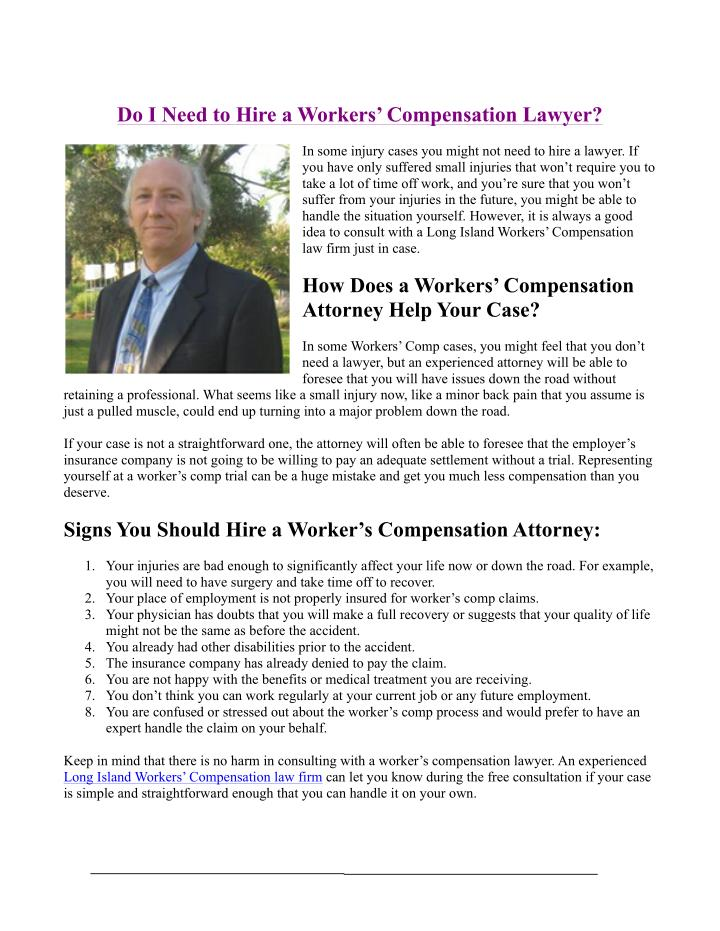 Do I Need to Hire a Workers' Compensation Lawyer?