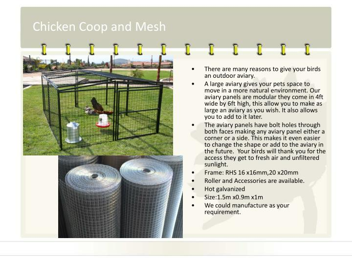Chicken coop and mesh