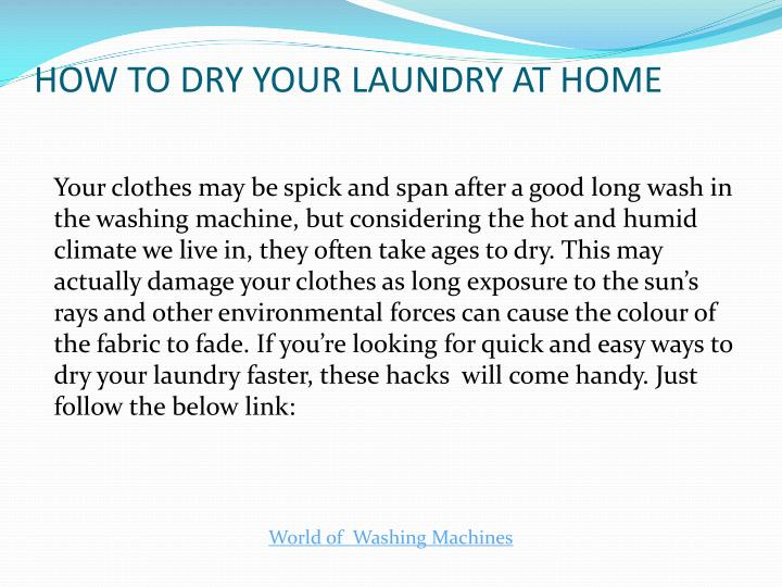HOW TO DRY YOUR LAUNDRY AT HOME