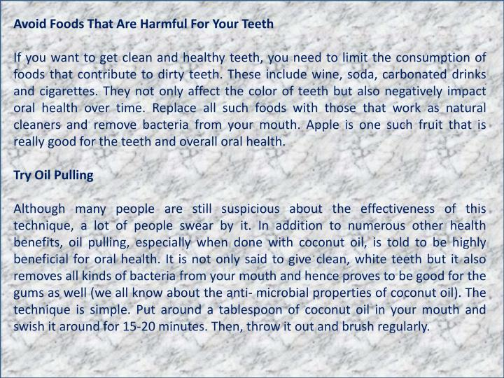 Avoid Foods That Are Harmful For Your Teeth