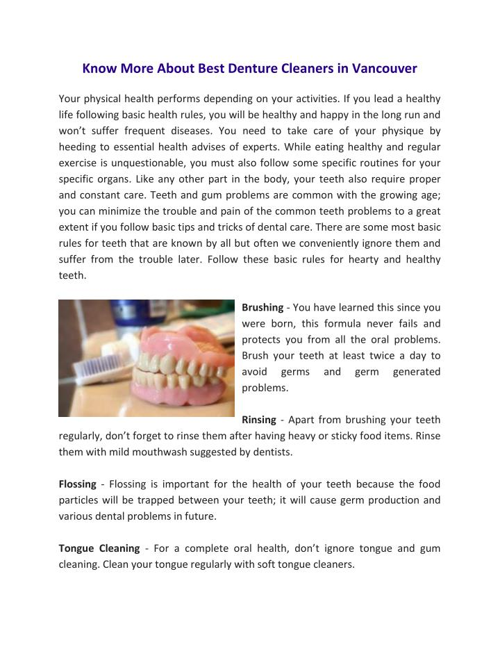 Know More About Best Denture Cleaners in Vancouver