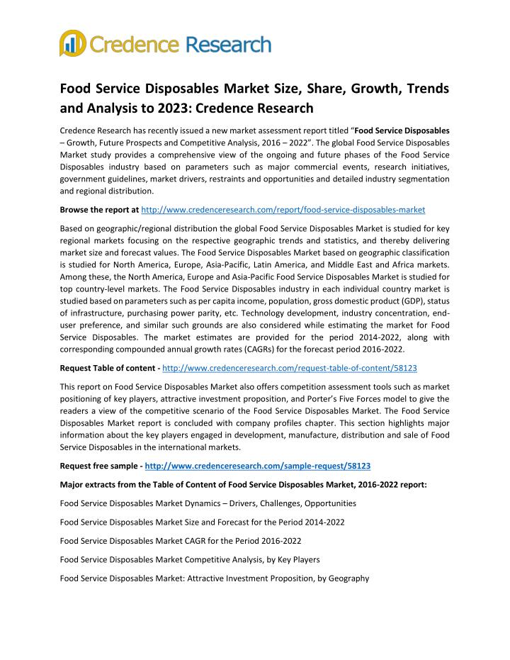 Food Service Disposables Market Size, Share, Growth, Trends