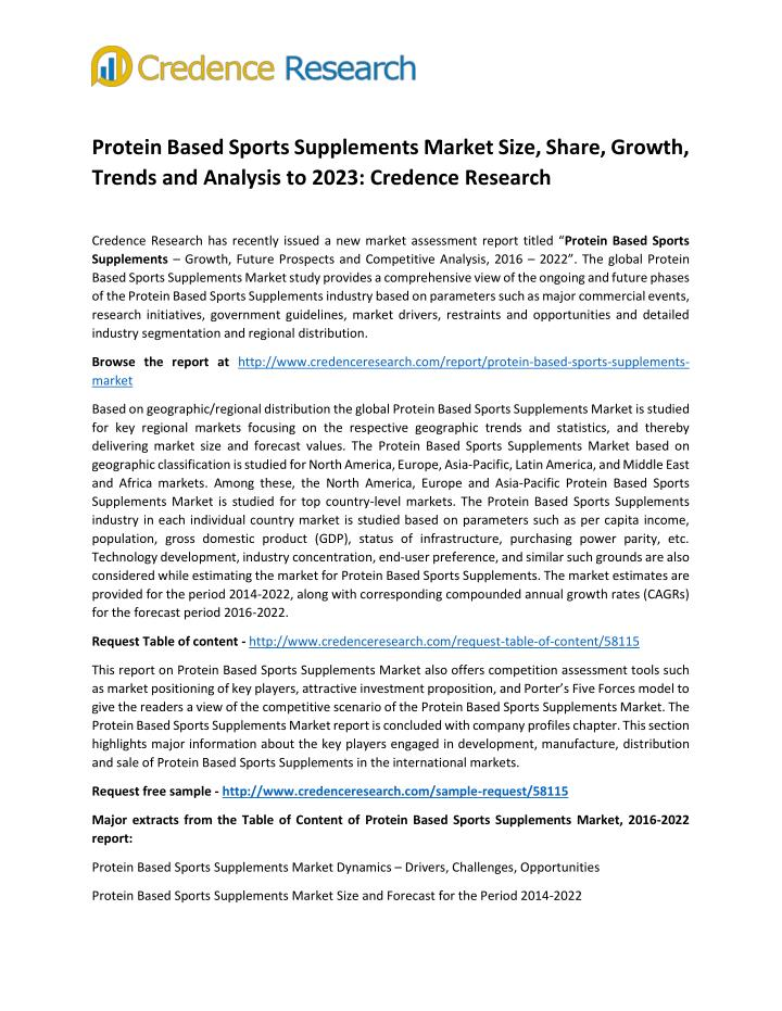 Protein Based Sports Supplements Market Size, Share, Growth,