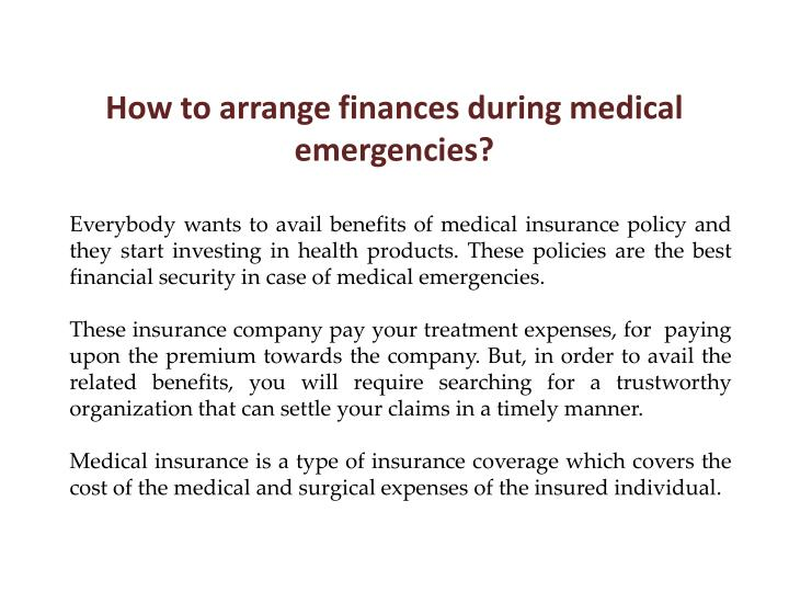 How to arrange finances during medical emergencies