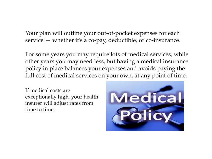 Your plan will outline your out-of-pocket expenses for each service — whether it's a co-pay, deductible, or co-insurance.
