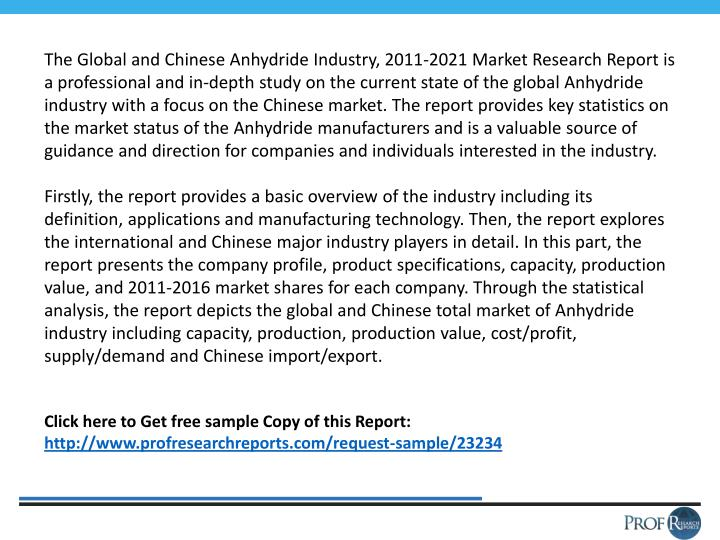 The Global and Chinese Anhydride Industry, 2011-2021 Market Research Report is