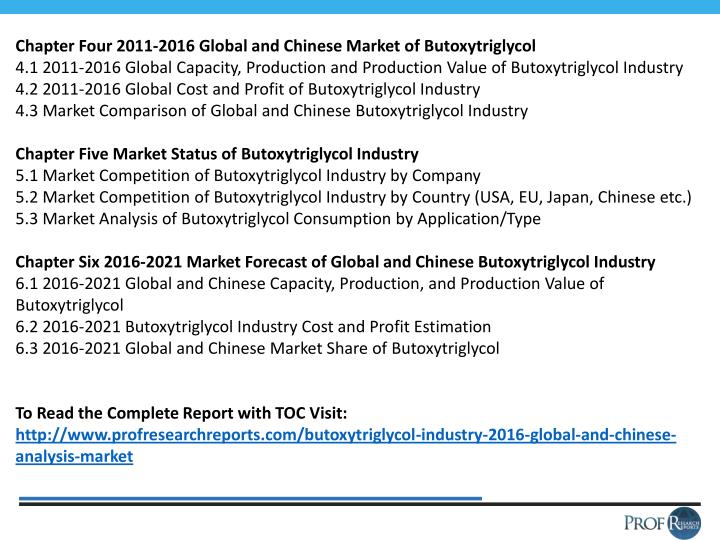 Chapter Four 2011-2016 Global and Chinese Market of Butoxytriglycol