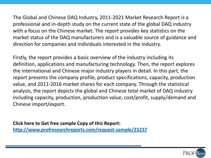 The Global and Chinese DAQ Industry, 2011-2021 Market Research Report is a