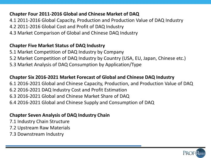 Chapter Four 2011-2016 Global and Chinese Market of DAQ