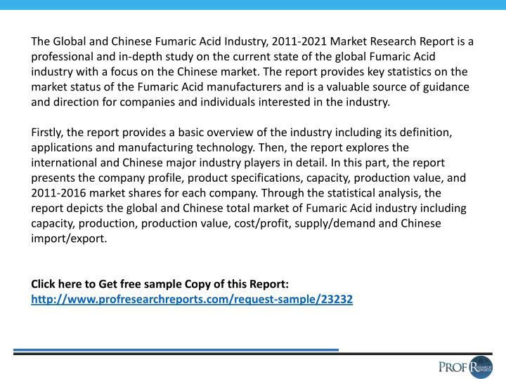 The Global and Chinese Fumaric Acid Industry, 2011-2021 Market Research Report is a