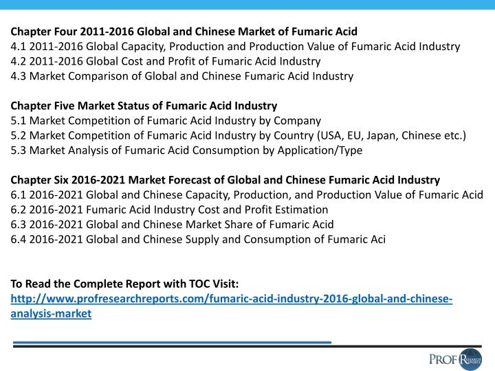 Chapter Four 2011-2016 Global and Chinese Market of Fumaric Acid