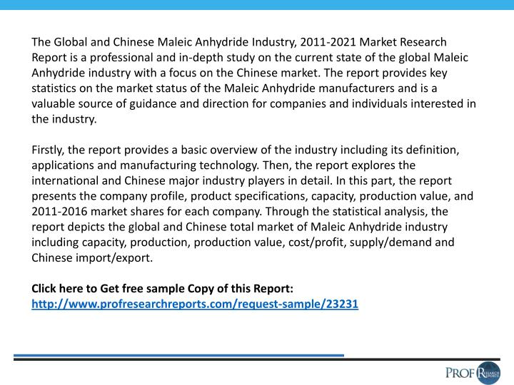 The Global and Chinese Maleic Anhydride Industry, 2011-2021 Market Research