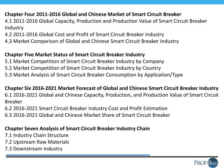 Chapter Four 2011-2016 Global and Chinese Market of Smart Circuit Breaker