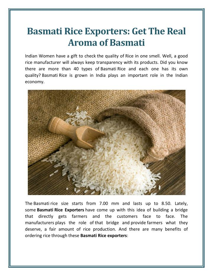 Basmati Rice Exporters: Get The Real