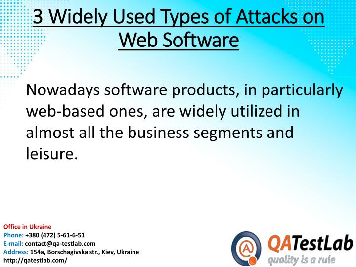 3 widely used types of attacks on web software1