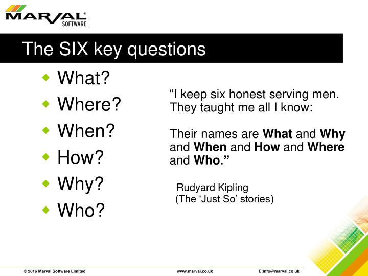 The SIX key questions