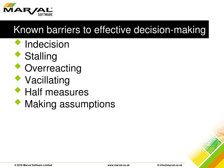 Known barriers to effective decision-making