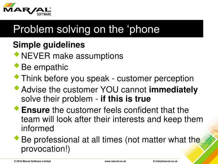 Problem solving on the 'phone