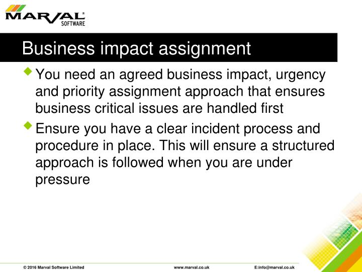 Business impact assignment
