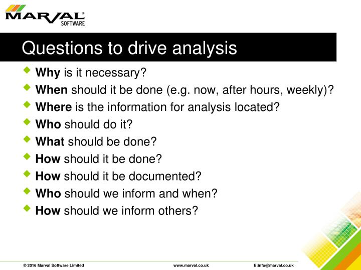 Questions to drive analysis