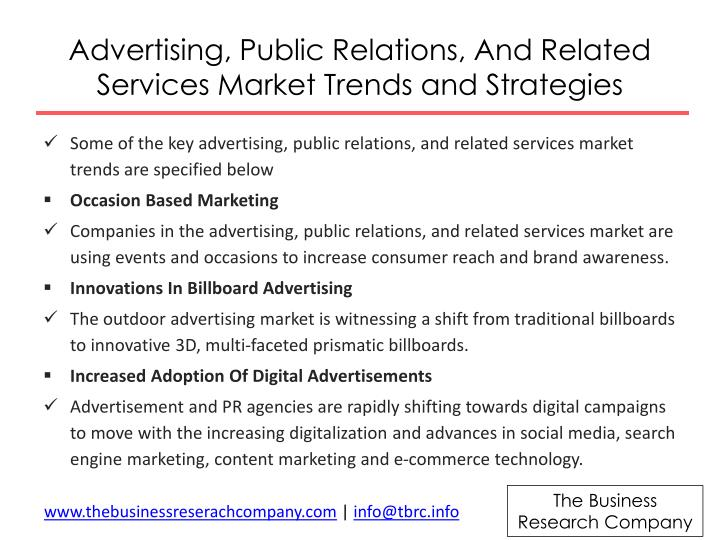 Advertising, Public Relations, And Related Services Market Trends and Strategies