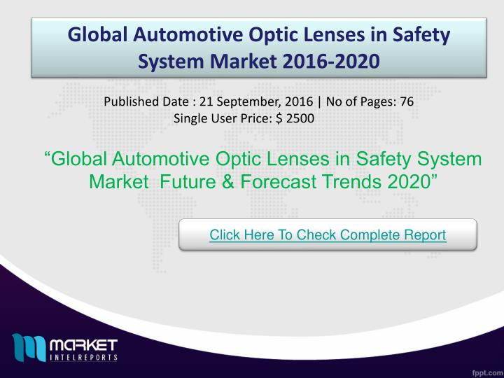 Global Automotive Optic Lenses in Safety System Market 2016-2020