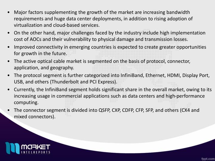 Major factors supplementing the growth of the market are increasing bandwidth requirements and huge ...