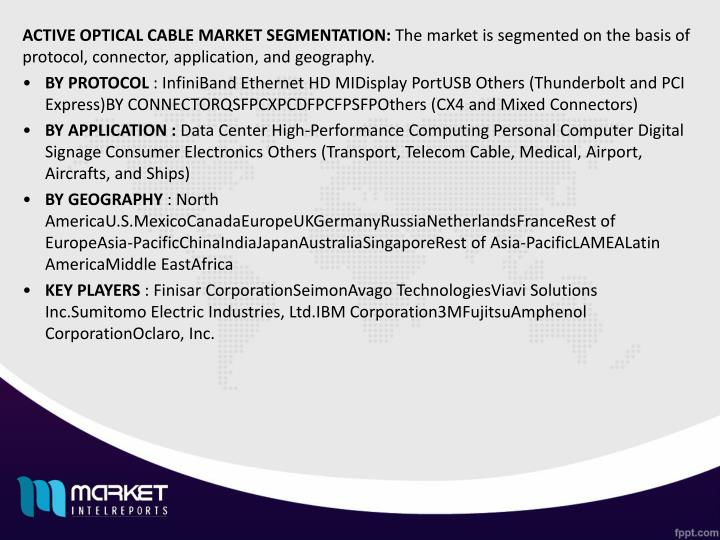 ACTIVE OPTICAL CABLE MARKET SEGMENTATION: