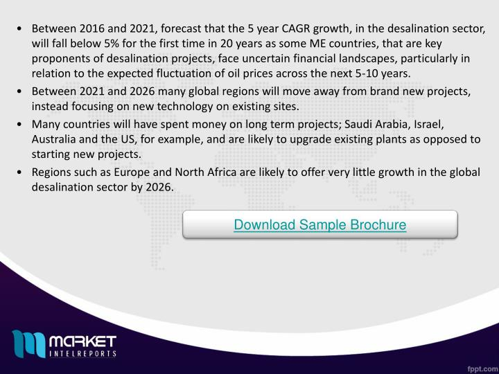 Between 2016 and 2021, forecast that the 5 year CAGR growth, in the desalination sector, will fall b...