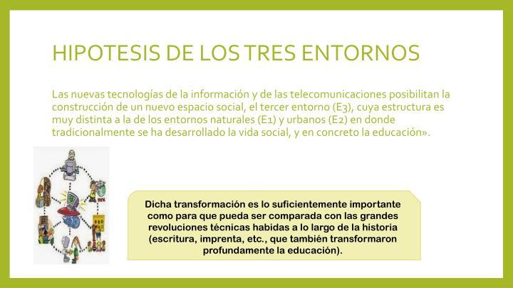 HIPOTESIS DE LOS TRES ENTORNOS