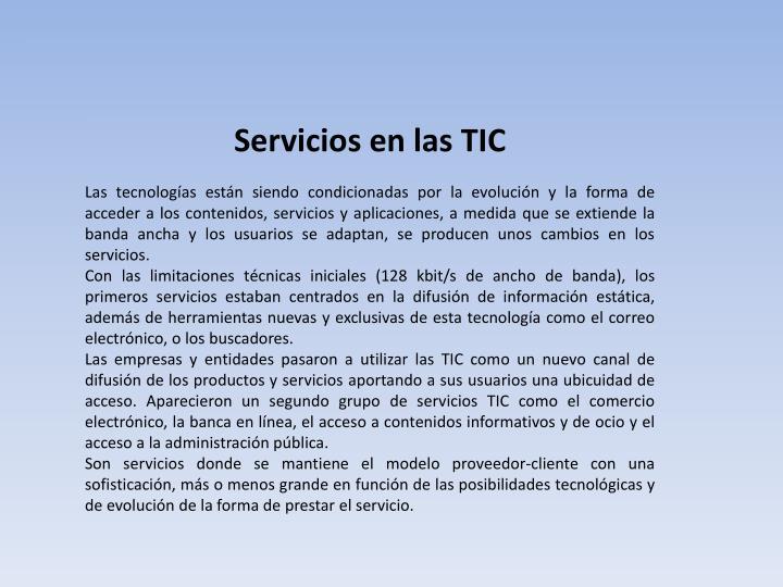 Servicios en las