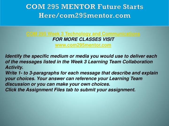 COM 295 MENTOR Future Starts Here/com295mentor.com